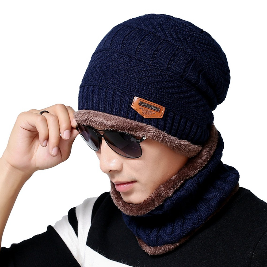 Men s Beanie Hat Scarf Set Knit Hat Warm Thick Winter Hat (Navy) at Amazon  Men s Clothing store  419d225ffa2