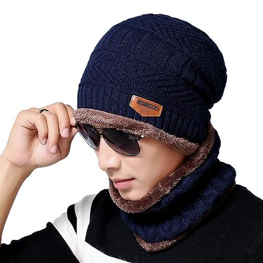 Men s Beanie Hat Scarf Set Knit Hat Warm Thick Winter Hat (Navy) at ... 596628583919