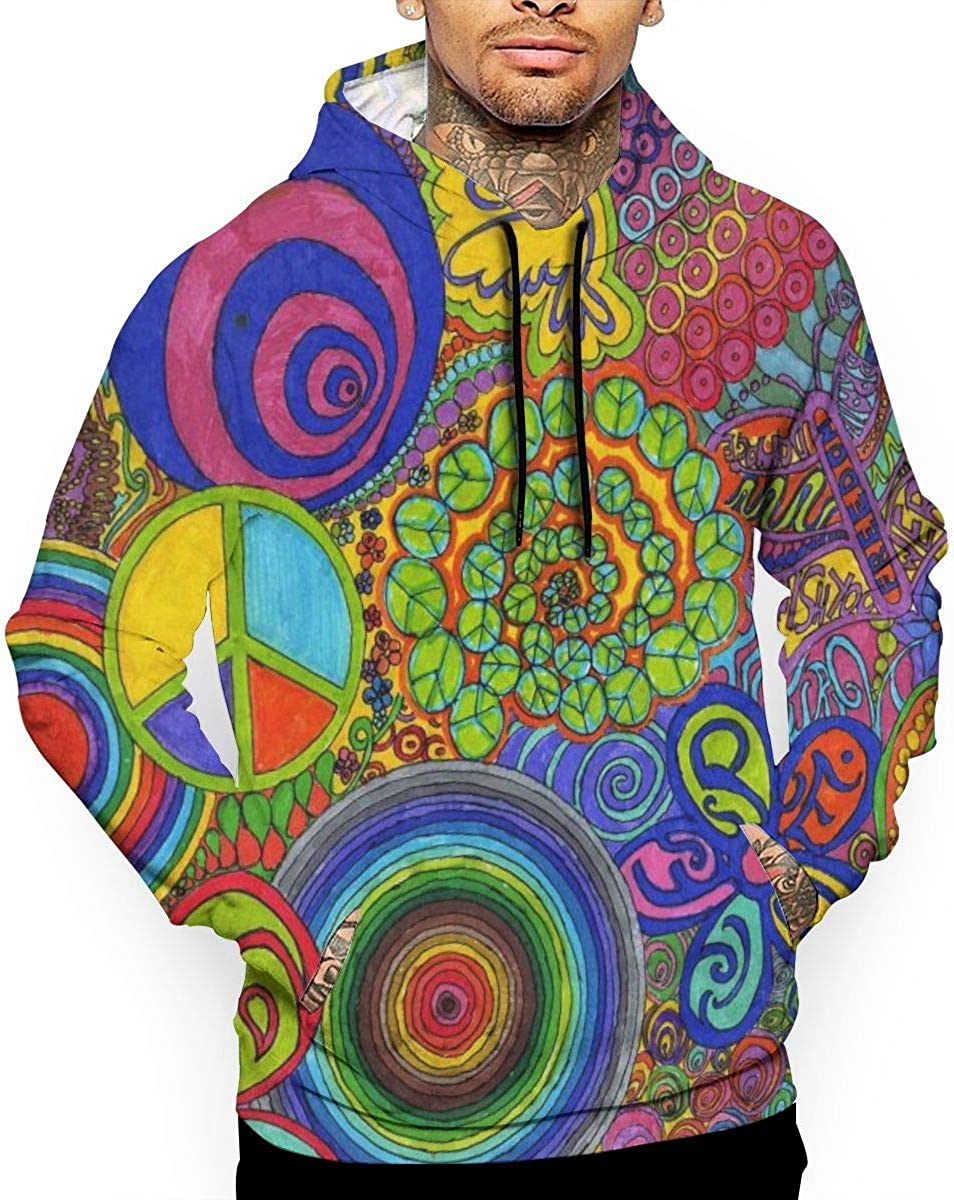 Psychedelic Music Pop Mens Front Pouch Pocket Pullover Hoodie Sweatshirt Long Sleeves Pullover Tops