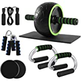 Odoland 6-in-1 Large Size AB Wheel Roller Set with Push Up Bars Gliding Discs Jump Rope Hand Exerciser Knee Pad, Home…