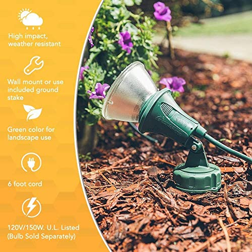 Woods Outdoor Floodlight Fixture with Stake 6-Feet Cord, 120V, Green 2 Pack