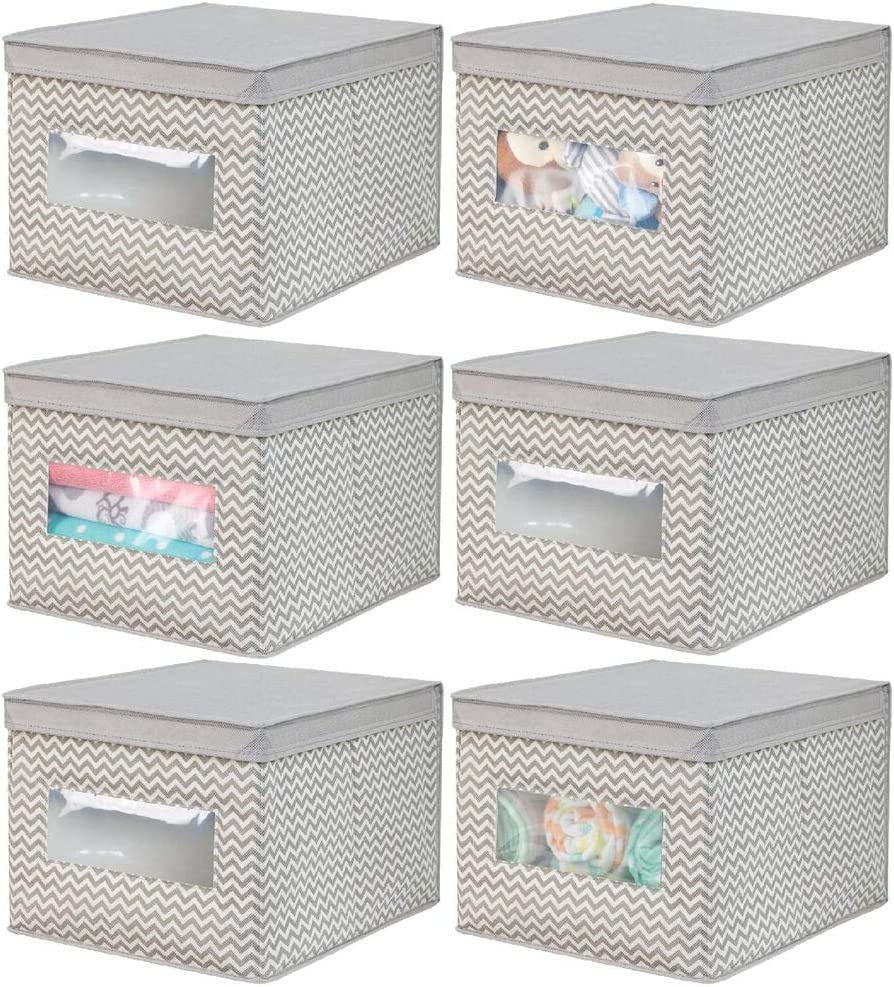 mDesign Decorative Stackable Fabric Closet Storage Organizer Holder Box - Clear Window, Lid, for Child/Kids Room, Nursery - Large, Collapsible Foldable - Chevron Zig-Zag Print, 6 Pack - Taupe/Natural