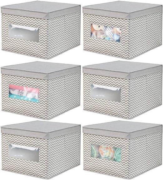 sal/ón o ba/ño Rosa//Blanco Caja de almacenaje apilable de Fibra sint/ética Transpirable Pr/áctico Organizador de armarios con Tapa para Dormitorio mDesign Caja de Tela
