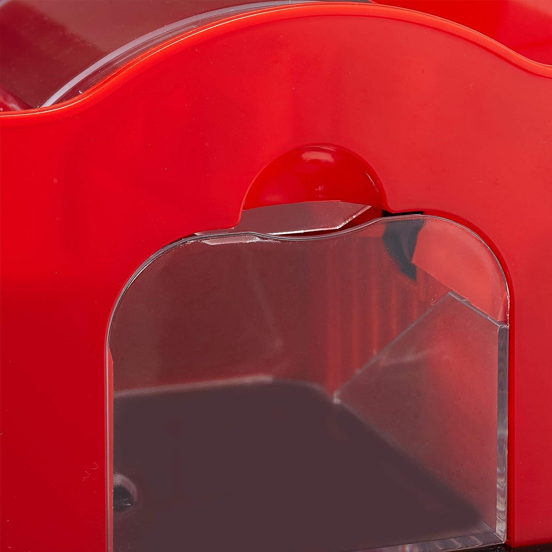 Kurbel rot//schwarz manuelles Mischger/ät f/ür Spielkarten bis 91 mm 2 Decks Kunststoff Relaxdays Kartenmischmaschine