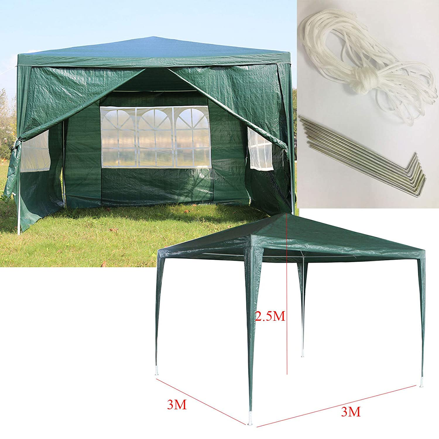 White AutoBaBa 3x3m Waterproof Garden Gazebo Marquee Canopy Tent Steel Tube Strong Marquee PE