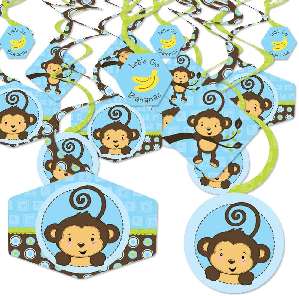 Big Dot of Happiness Blue Monkey Boy - Baby Shower or Birthday Party Hanging Decor - Party Decoration Swirls - Set of 40