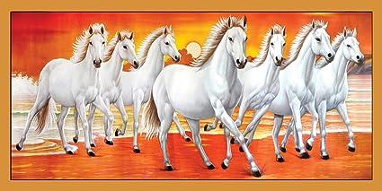Graphics World Vastu Poster White 7 Horse Running Painting Vinayl