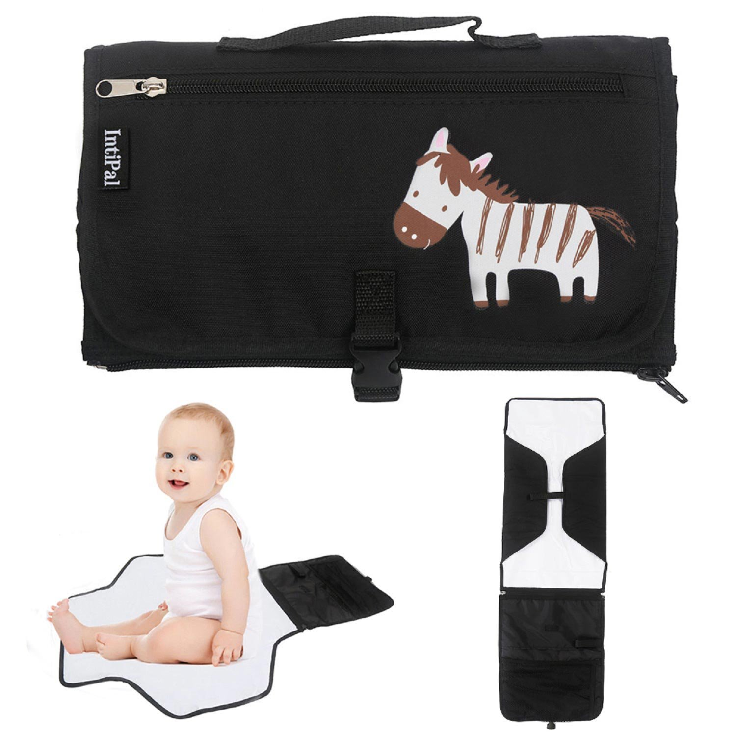 IntiPal Baby Diaper Changing Pad - Diaper Changing Mat with Storage Pockets - Portable Diaper Changing Station Kit Clutch for Travel and Home (Black Zebra)