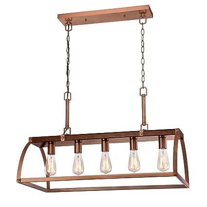 new concept d0d79 54a41 Westinghouse Lighting 6351600 Chandelier, Barnwood & Copper