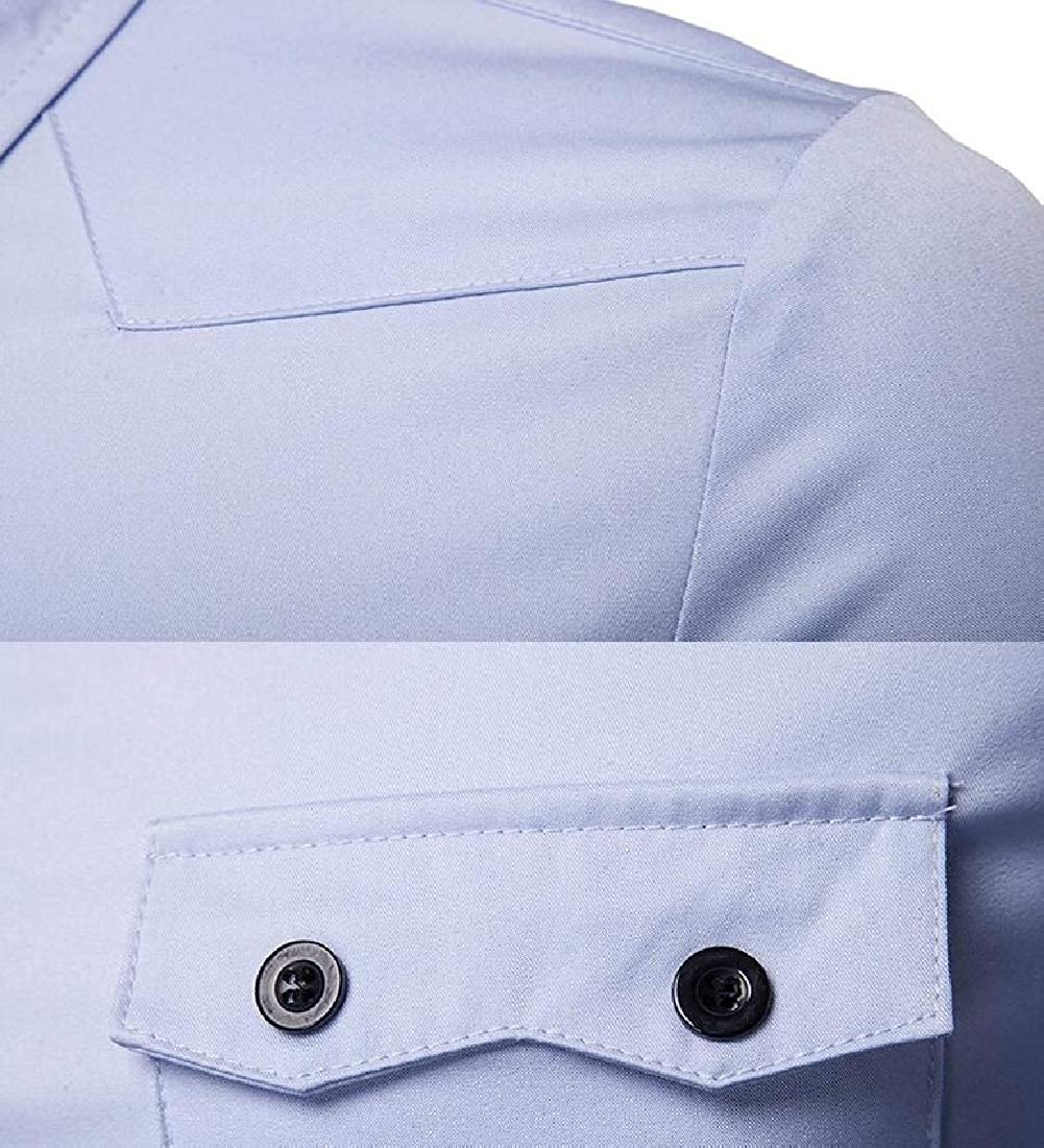 GAGA Mens Slim Fit Business Double Pocket Solid Button Down Dress Shirts