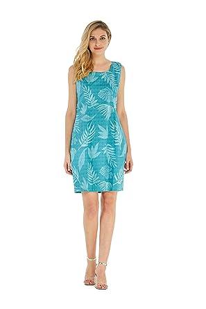 Hawaii Hangover Womens Hawaiian Luau Tank Dress In Aqua Leaf Floral Print S