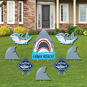 Big Dot of Happiness Shark Zone - Yard Sign and Outdoor Lawn Decorations - Jawsome Shark Viewing Week Party or Birthday Party Yard Signs - Set of 8