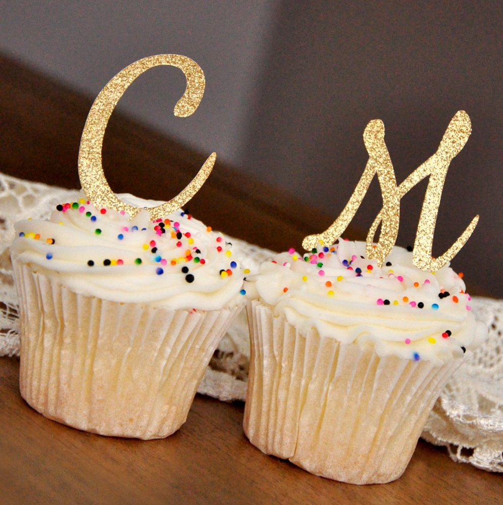 Initial Letter Cupcake Toppers. Set of 12. Pink and Gold Birthday Party Decorations.