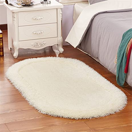 Hoomy Modern Bedroom Rugs Oval Off White Floor Mats Solid Shaggy Carpet  Small Living Room