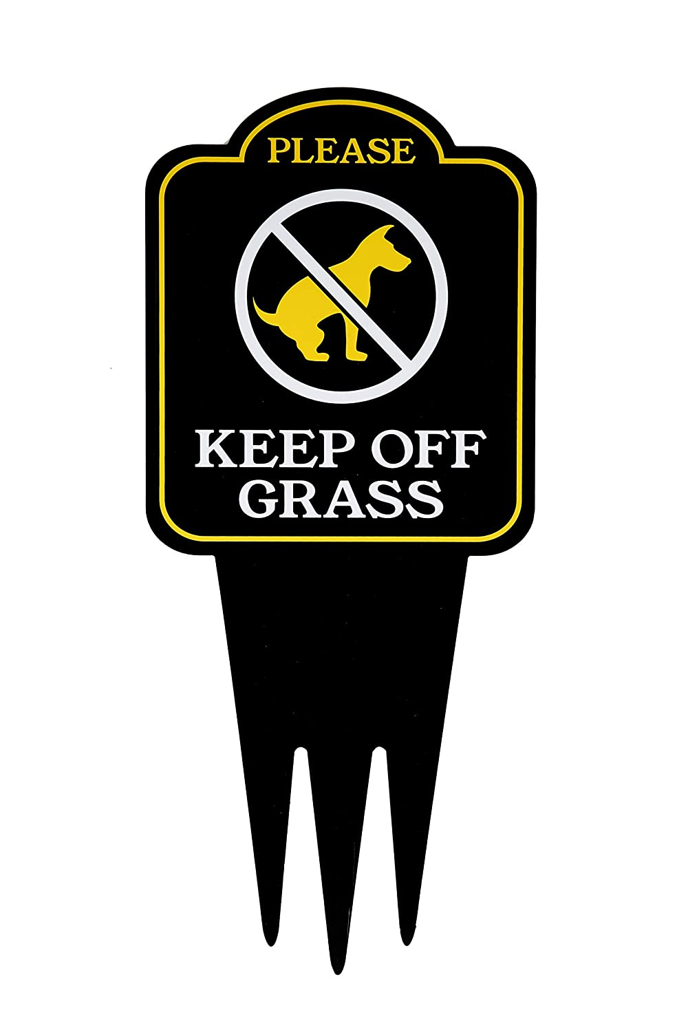 "Keep Off Grass Yard Sign With Stake | No Dogs, No Pets, No Peeing, No Pooping on Lawn Signs | Unique Triple Self Staking Design | Heavy Duty Dibond Aluminum | Larger 18"" Tall x 8"" Wide"