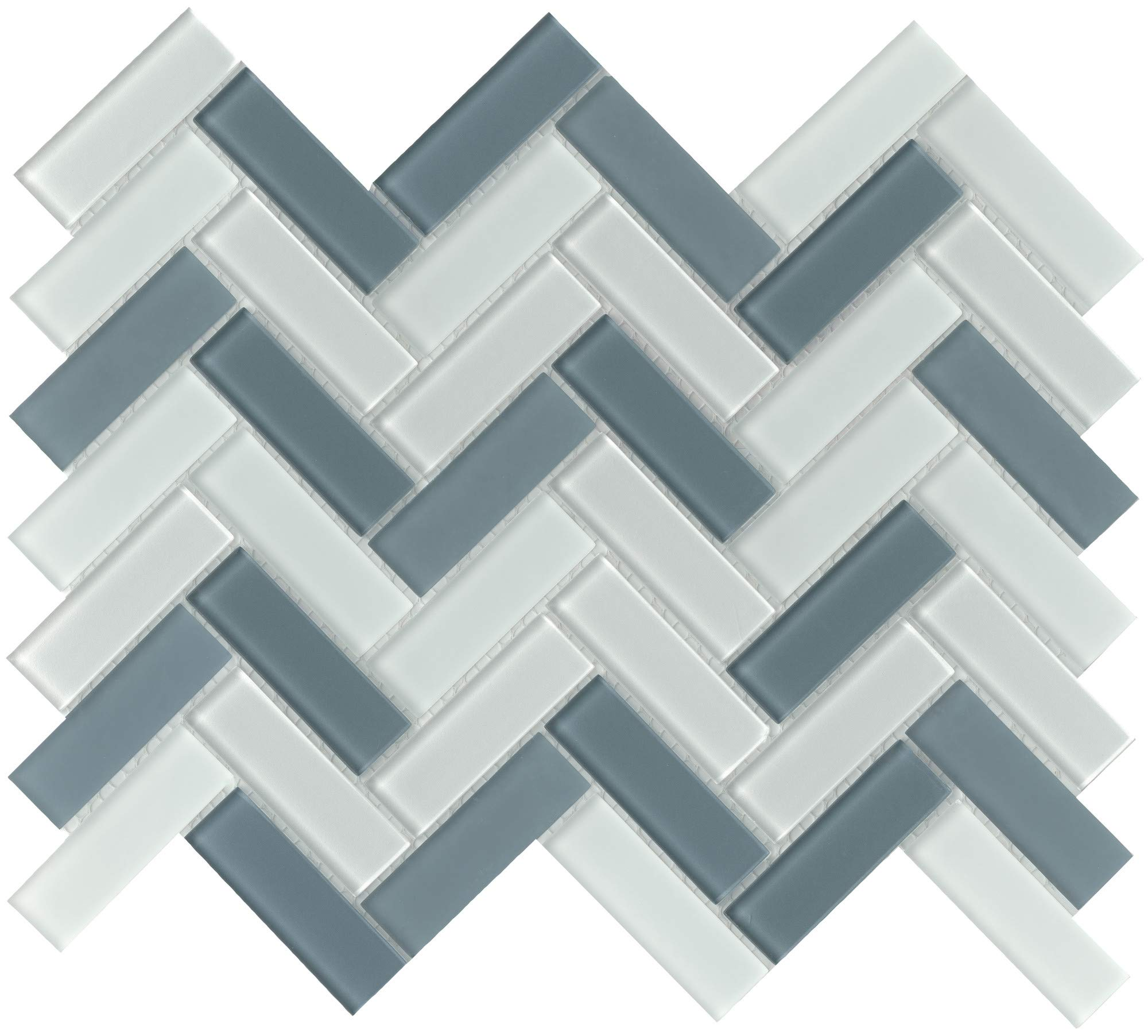 Emser Tile W80CHARCH1013MHB Charisma - 9-11/16'' x 13-1/16'' Herringbone Backsplash Mosaic Tile - Varied Glass Visual
