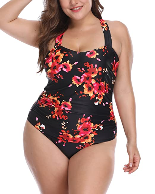 Woman One Piece Plus Size Vintage Floral Print Halter Bandeau High Waisted Monokini Pinup Swimsuit