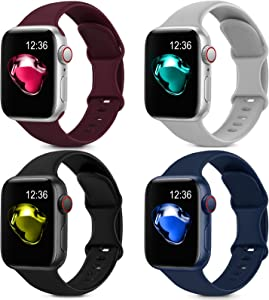 4 Pack Sport Silicone Bands Compatible with Apple Watch Bands 38mm 40mm Women Men, Soft Replacement Strap Band Compatible for iwatch Series 6 SE 5 4 3 2 1(38MM/40MM,Black+Blue+Red+Gray)