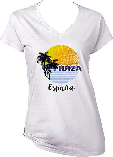 teesquare1st IBIZA SPAIN Camiseta para mujer de algodon: Amazon.es: Ropa y accesorios