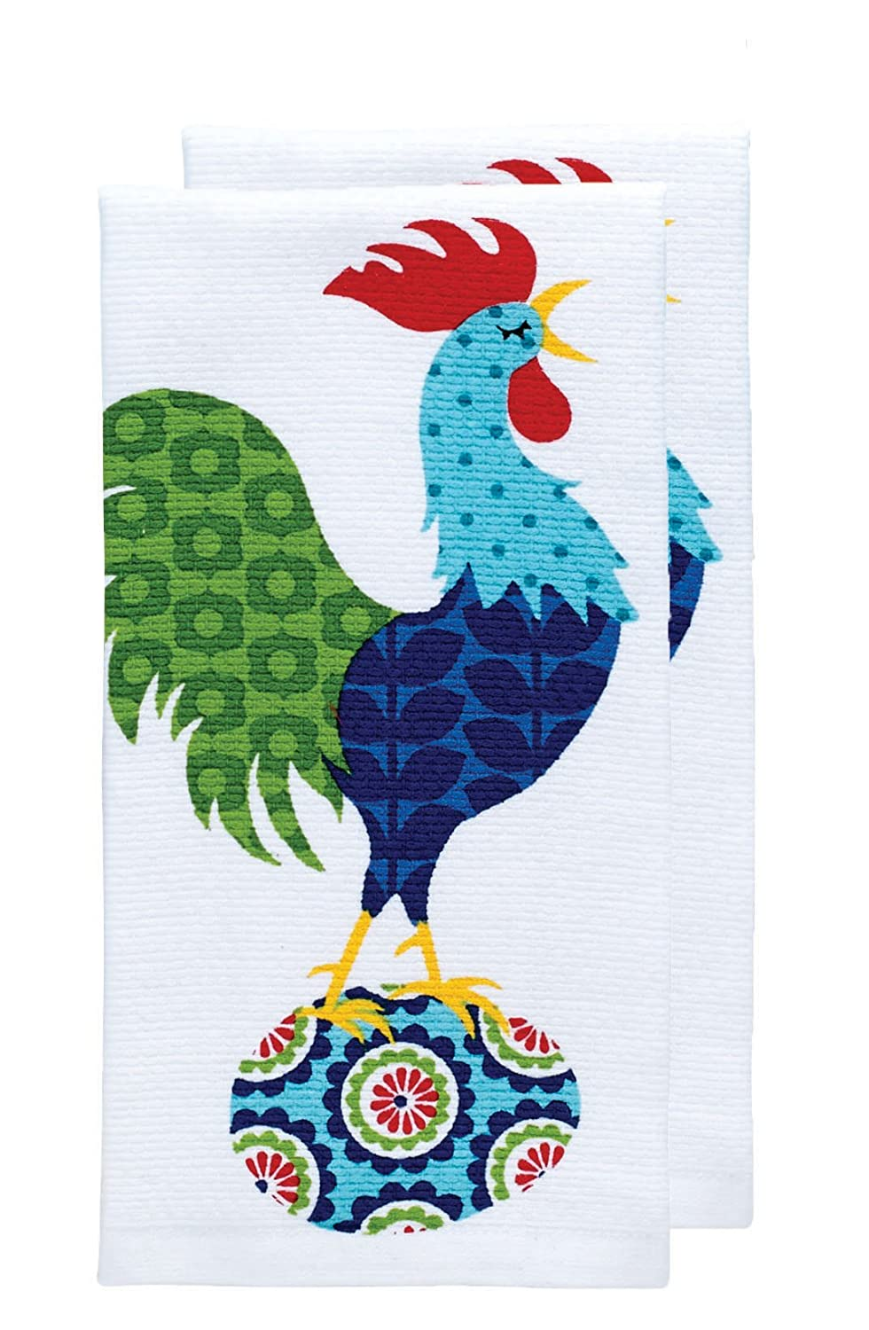 "T-fal Textiles Double Sided Print Woven Cotton Kitchen Dish Towel Set, 2-pack, 16"" x 26"", Rooster Print"