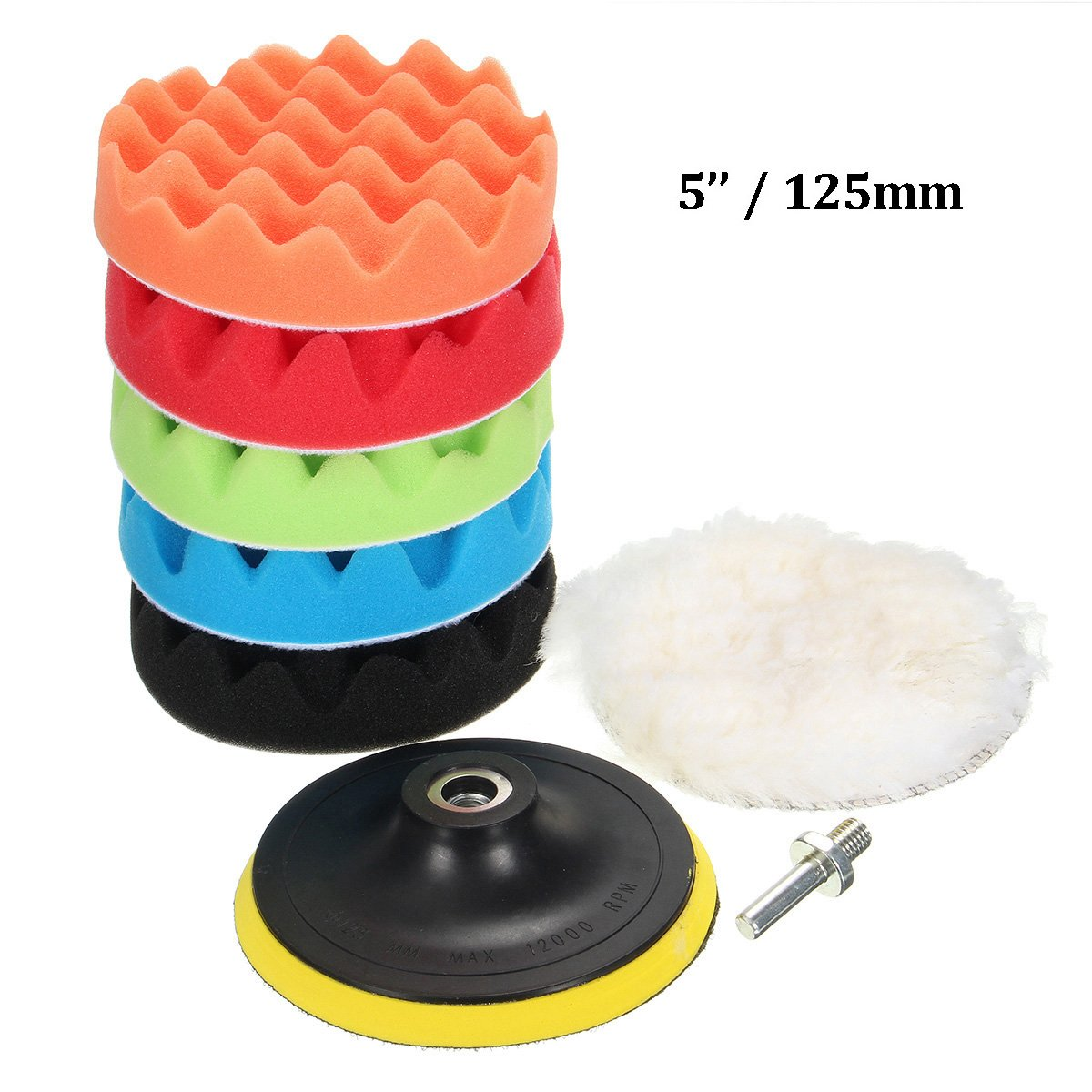 MATCC 7Pcs Polishing Pads Various Sizes Sponge Woolen Polishing Waxing Buffing Pads Kits with M14 Drill Adapter (5')