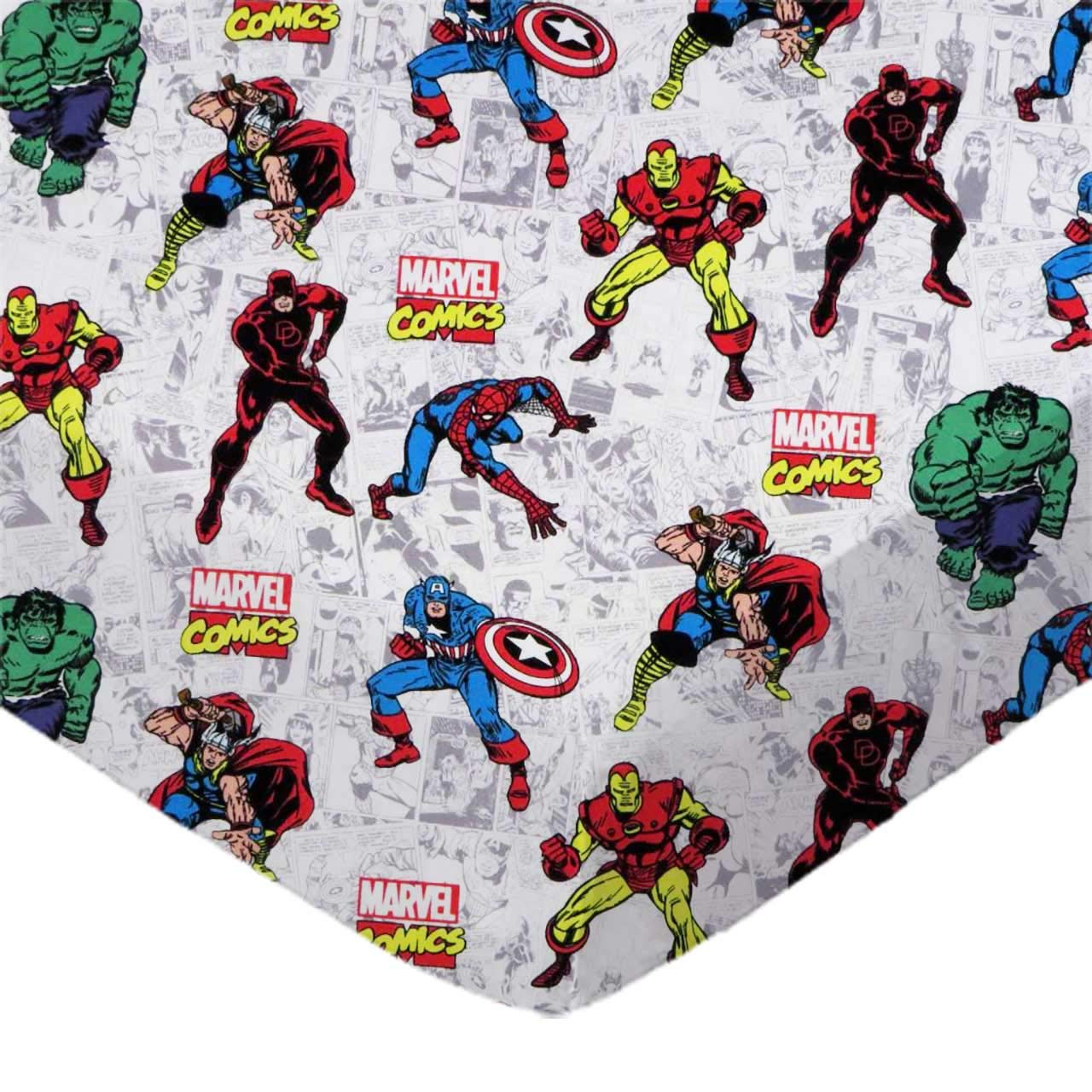 SheetWorld 100% Cotton Percale Crib Sheet Set 28 x 52, Marvel Comics, Inlcudes 1 Fitted, 1 Flat, 1 Toddler Pillow Case, Made in USA by SHEETWORLD.COM