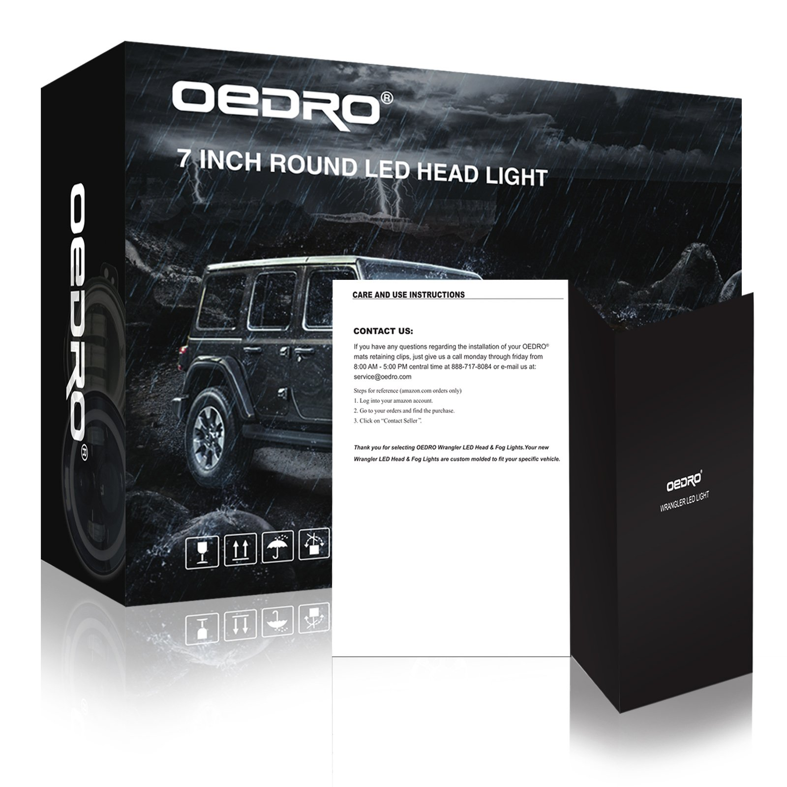 Oedro 7 Led Headlights W White Halo Ring For Drl Amber Turn Jeep Headlight Wiring Diagram Signal 4 Inch Combo Fog Lights Dot Approved Compatible