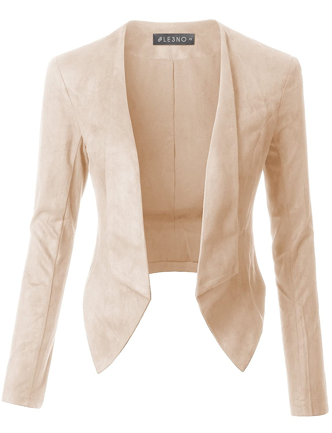 9fdf29d5a69 Top1  LE3NO Womens Lightweight Faux Suede Open Front Cropped Blazer Jacket