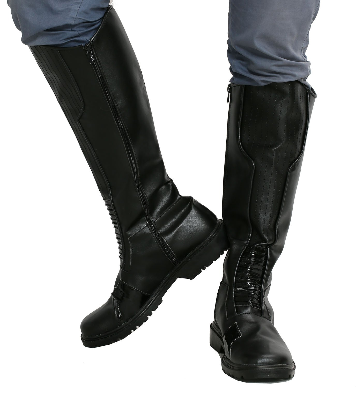 Zoom Cosplay Boots Shoes Halloween Costume Accessories Props Black PU Male US8 by Hotwinds