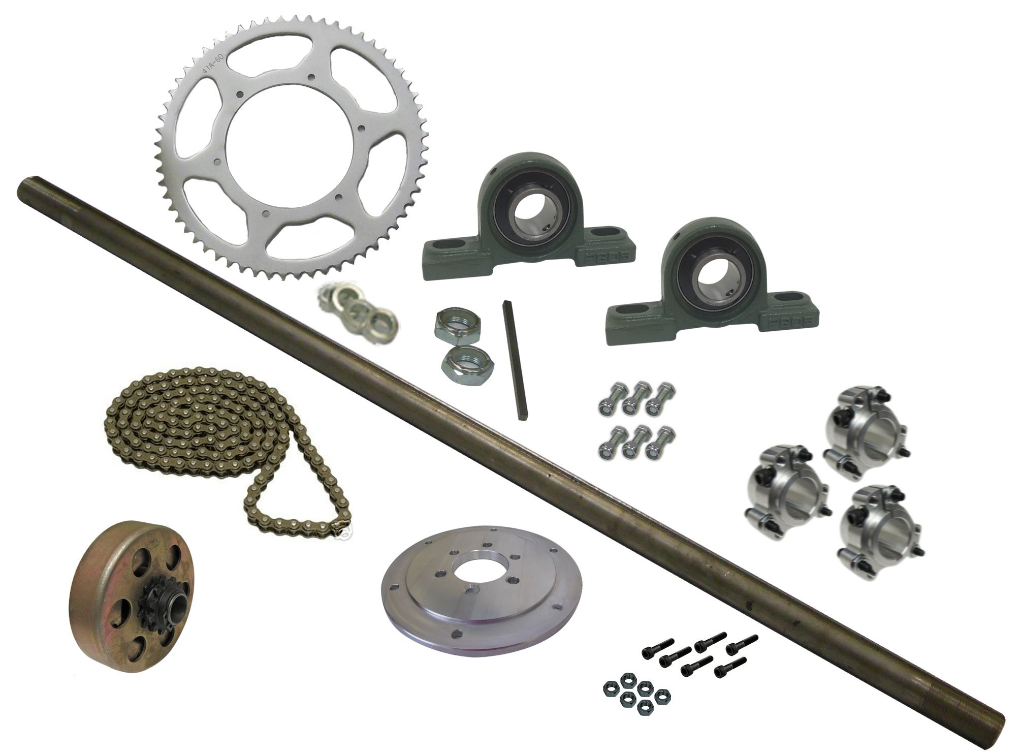BMI Karts Drift Trike Axle Kit with Clutch, Pillow Block Bearings (#40 Chain), 40'' Axle