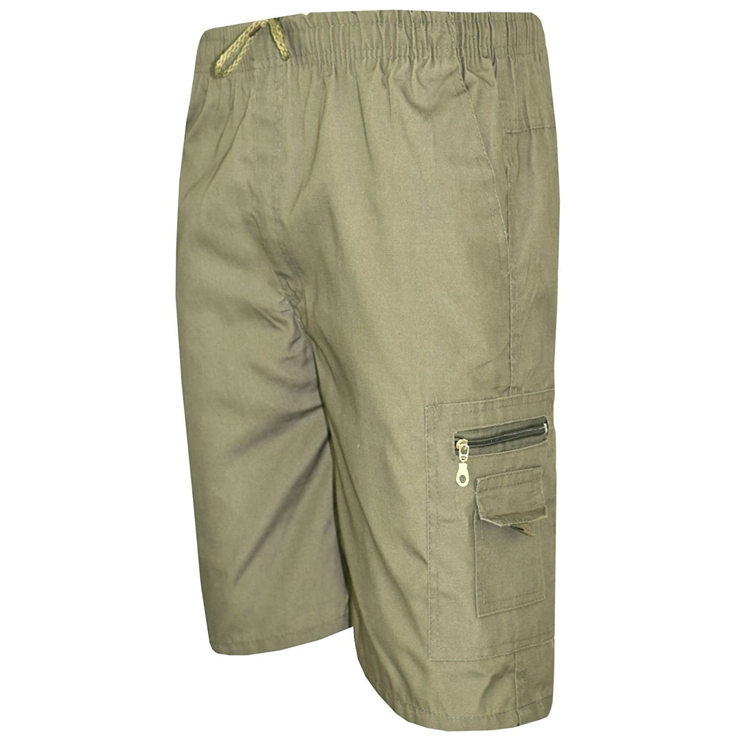 e5eab832f2a9 Available in Sizes L-XXL Mens Plain Plus Size 3 4 Casual Elasticated Cargo  Summer Holiday Combat Shorts Pants