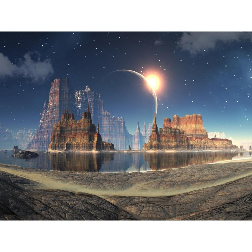 Pitaara Box Solar Eclipse Over Alien Lake Landscape Unframed Canvas Painting 37.3 x 28inch