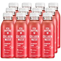 Vital Proteins Collagen Water™, 10g of Collagen per Bottle, Made with Real Fruit Juice, Dairy & Gluten Free - Strawberry Lemon, 12 Pack