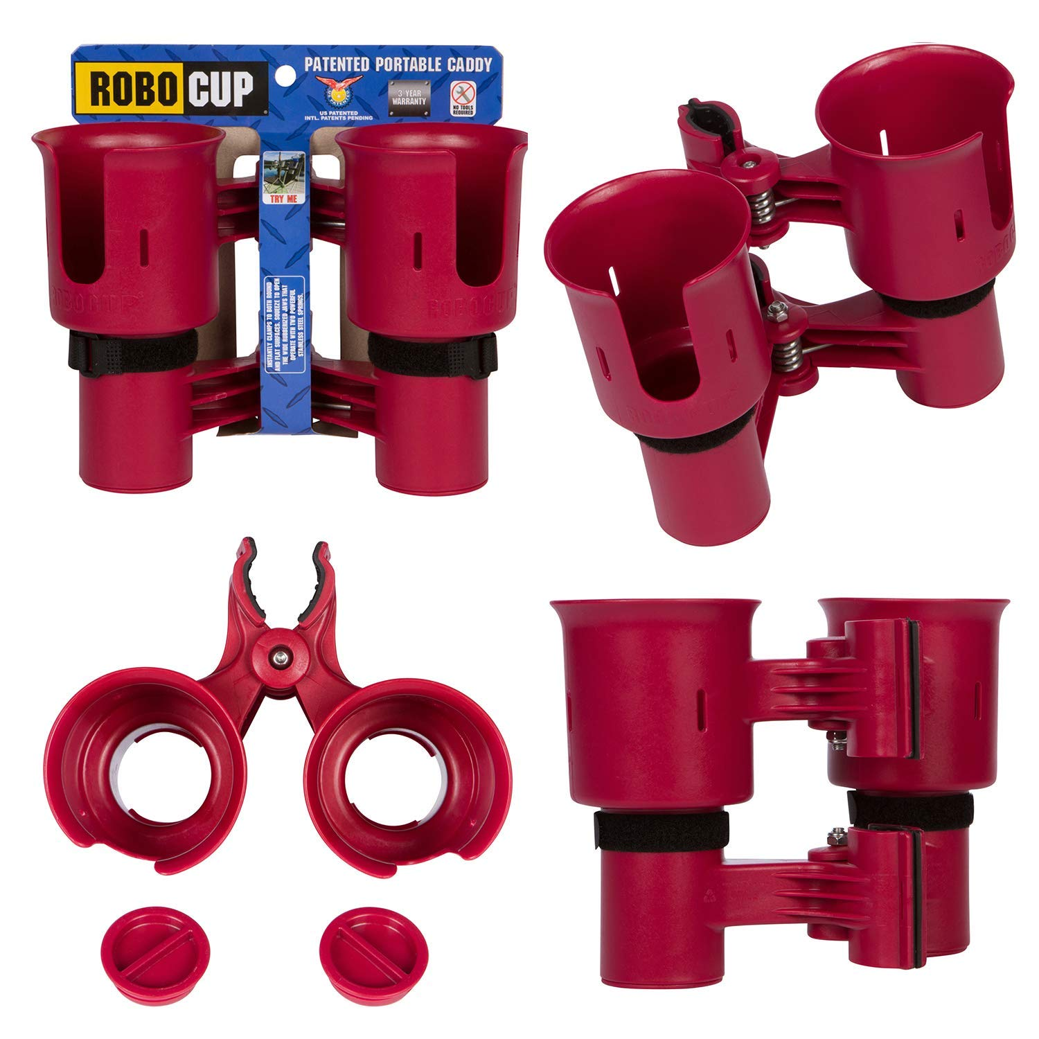 ROBOCUP, RED, Updated Version,Best Cup Holder for Drinks, Fishing Rod/Pole, Boat, Beach Chair/Golf Cart/Wheelchair/Walker/Drum Sticks/Microphone Stand by ROBOCUP