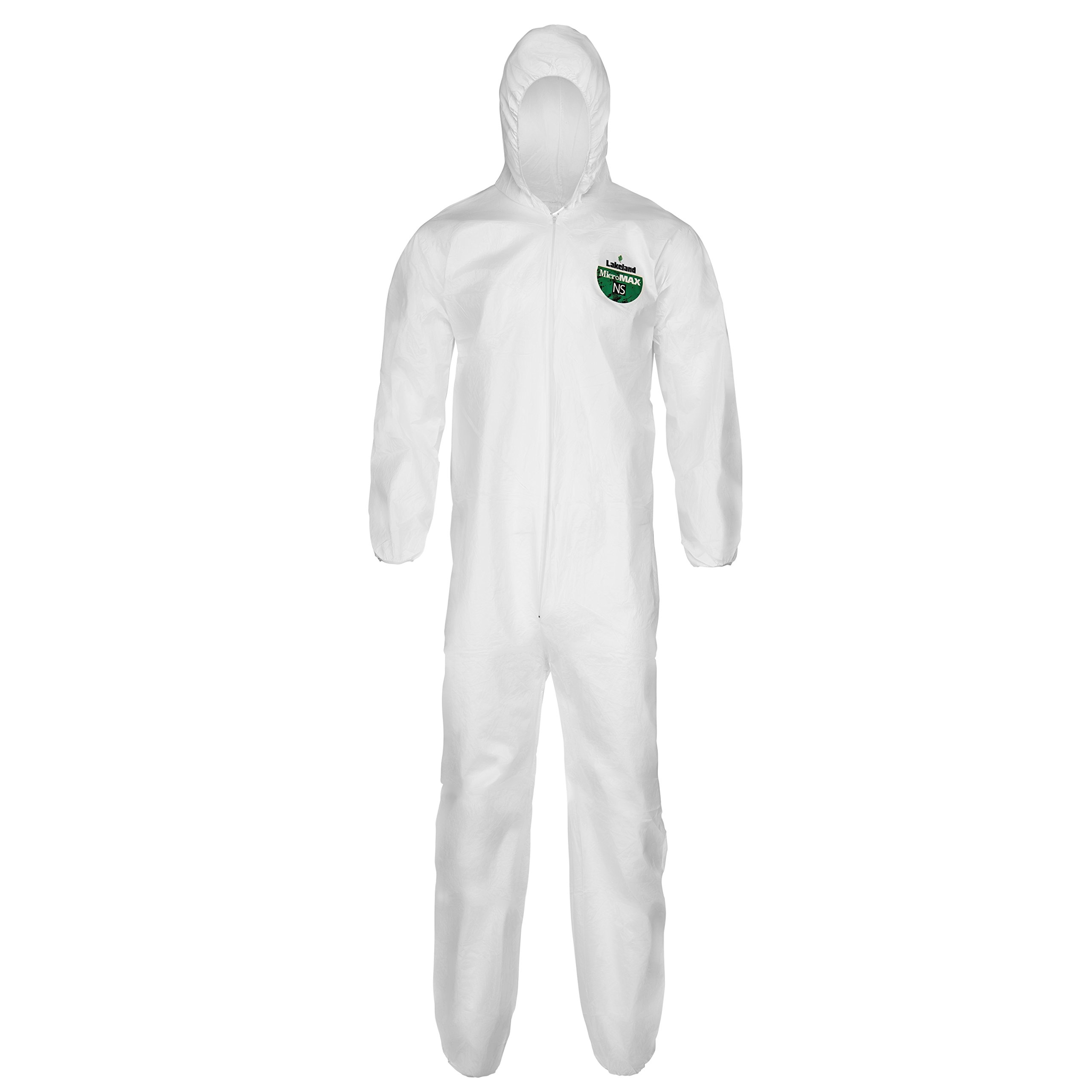 Lakeland MicroMax NS Microporous General Purpose Disposable Coverall with Hood, Elastic Cuff, 2X-Large, White (Case of 25) by Lakeland Industries Inc