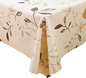 LEEVAN Heavy Weight Vinyl Rectangle Table Cover Wipe Clean PVC Tablecloth Oil-Proof/Waterproof Stain-Resistant- 54 x 84 Inch (Autumn Leaves)