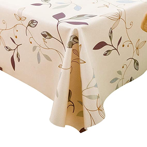 LEEVAN Heavy Weight Vinyl Rectangle Table Cover Wipe Clean PVC Tablecloth Oil-Proof/Waterproof Stain-Resistant- 54 x 78 Inch (Autumn Leaves) best rectangular tablecloths