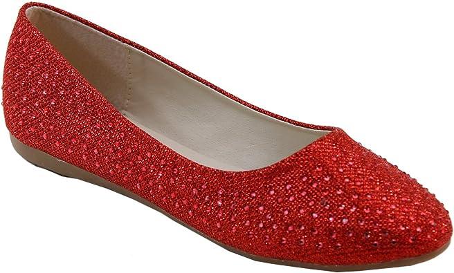 Brieten New Womens Rhinstones Pointy Toe Comfort Flat Shoes