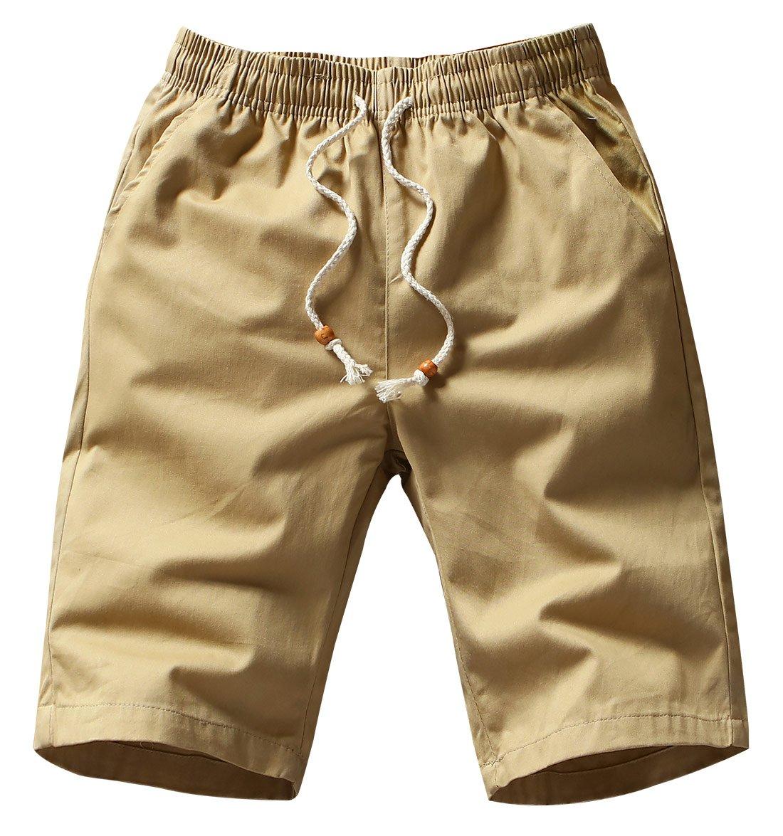 AIEOE Men's Summer Short Pants Cotton Twill Cargo Shorts Beach Pants Outdoor Wear Elastic Waist Short Trousers Size XL- Khaki