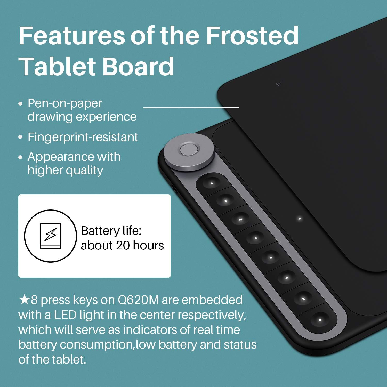 8 Teclas de Acceso Directo y 1 Controlador de marcaci/ón conectividad inal/ámbrica 10.5 x 6.56 Pulgadas con l/ápiz /óptico sin bater/ía 8192 HUION Inspiroy Dial Q620M Tableta Grafica