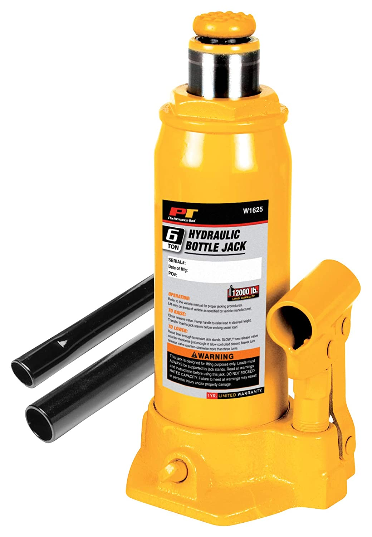 Heavy Duty Shorty Bottle Jack Performance Tool W1643 12 Ton 24,000 lbs.