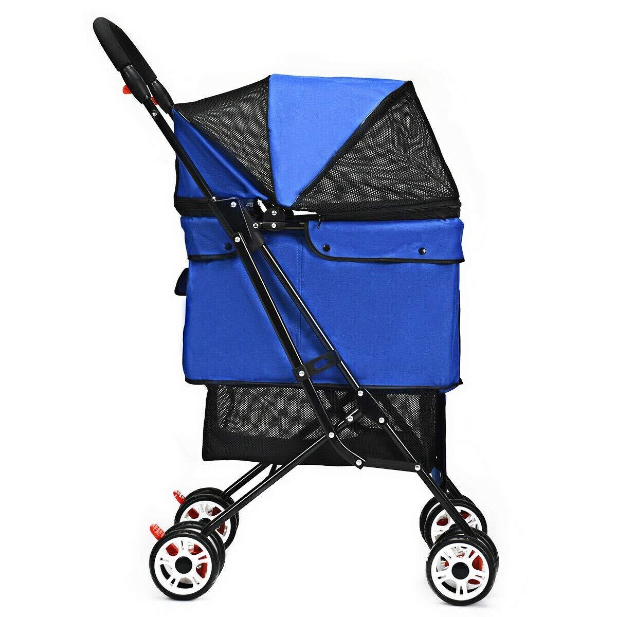 Folding Cat Dog Pets Stroller Carrier Cat Foldable Wheel Cart Walk Jogger Strolling Breathable Durable Outdoor Park Kitten Kitty Puppy (Blue)