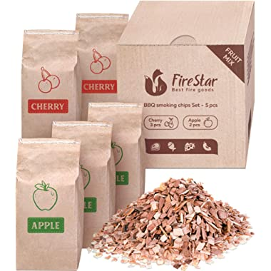 Apple wood chips 2 pc + Cherry wood chips 3pc - Wood chips for smoking and grilling - Smoker wood chips 5 pc in box - wood chips for charcoal, gas and electric smokers