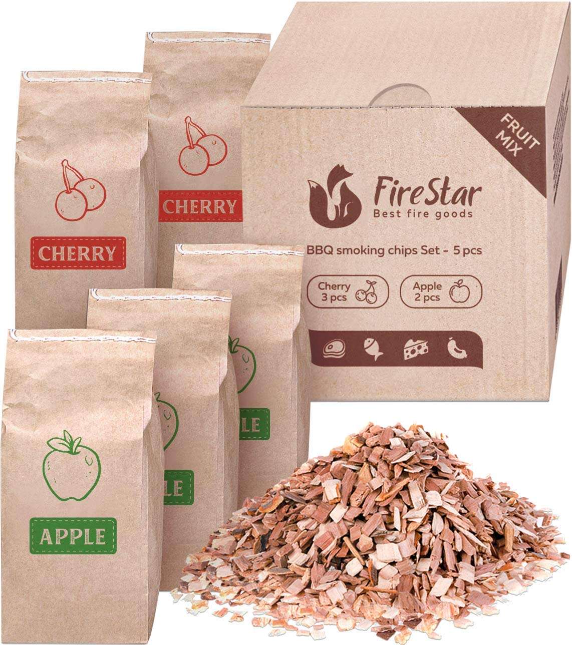 Cherry & Apple wood chips (5pc) -  Wood chips for smoking and grilling (bbq) - Electric smoker wood chips variety pack - Bonus E-book