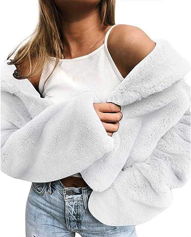 Linlink Chaqueta de Mujeres de Invierno Mantener Abrigos Calientes Sueltas de Piel Outwear de imitación Outwear: Amazon.es: Ropa y accesorios