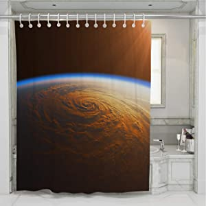 BEISISS Sun Shower Curtain,Hurricane in The Rays of Sun,Perfect for Bathroom Decor with Hooks