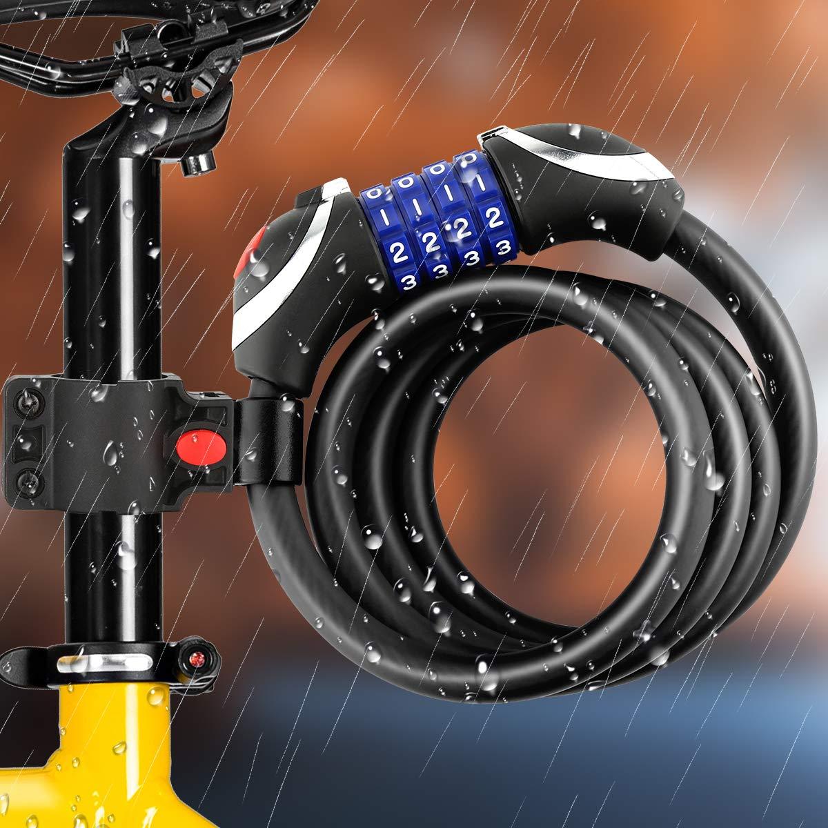Awroutdoor Candado de Bicicleta Seguridad Candado de Cable Mejor Combinaci/ón con Flexible Montaje Cable de Bloqueo antirrobo Alta Seguridad para la Bicicleta al Aire Libre 150cm X12mm
