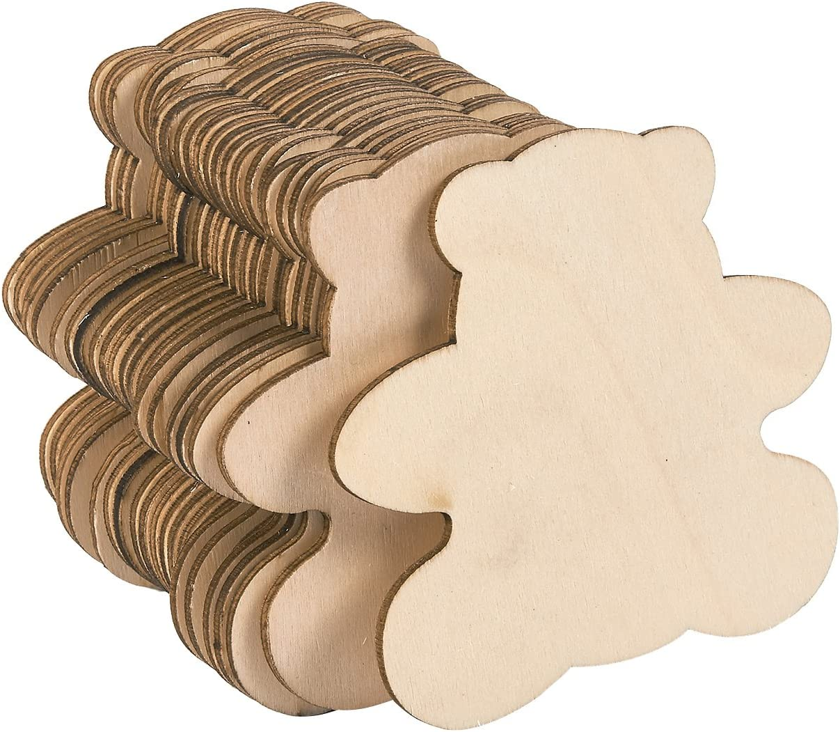 Juvale Wood Cutouts for Crafts, Teddy Bear (3.7 x 3.5 in, 24-Pack)