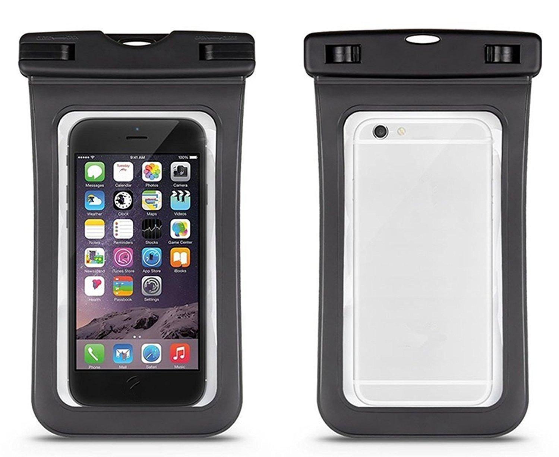 Da.Wa Funda Móvil Impermeable Universal Bolsa Sumergible Móvil Transparente Sensible al Tacto para No Más de 6 Pulgadas Teléfono Móvil(Negro)