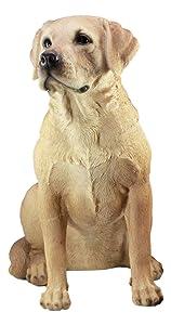 "Ebros Large Realistic Lifelike Yellow Labrador Retriever Statue 21"" Tall Golden Retriever Dog Patio Welcome Home Decor Sculpture"